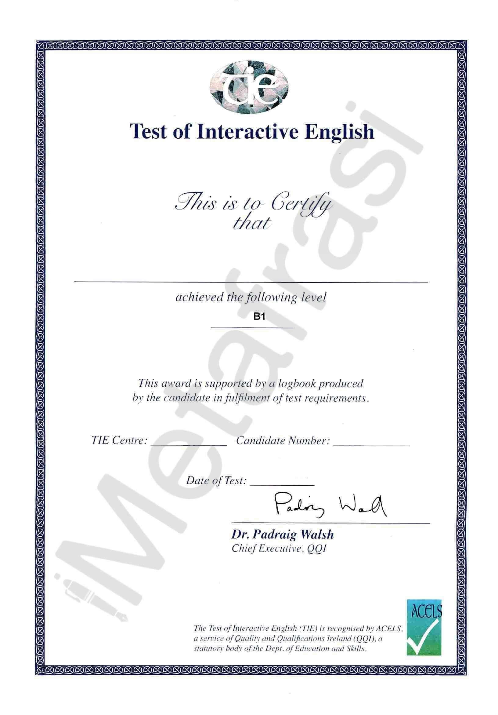 TIE Test of Interactive English B1 Level