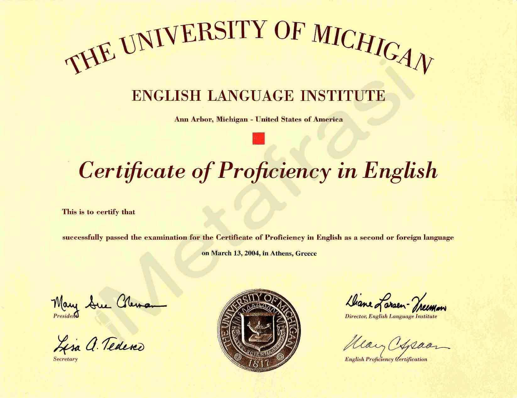Michigan Test Ecpe The Examination For The Certificate 897601