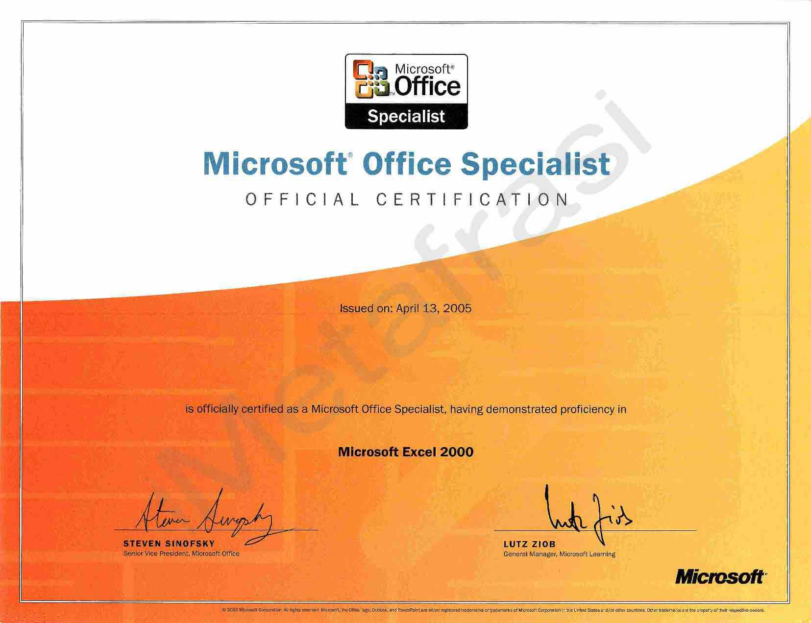 Microsoft Office Specialist Mos Certification Microsoft Excel